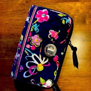 Vera Bradley turn lock blue & pink floral wallet